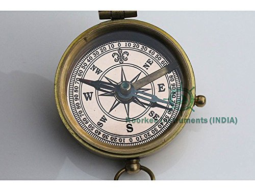 Follow your inner... Solid Brass Compass with Compass Rose Embossed Carry Case