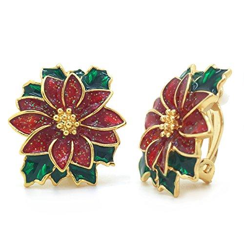 Poinsettia Clip On Earrings Christmas Flower Red Green