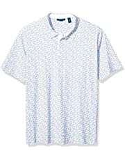 Perry Ellis Mens Big and Tall Printed Polo Short Sleeve Polo Shirt - White