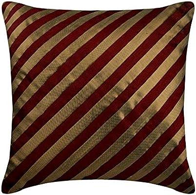 rojo fundas de almohadones, Rayas Con textura alforzas ...