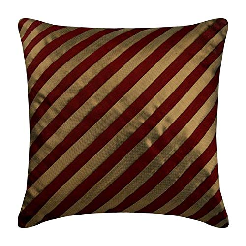 (Luxury Red Pillows Cover, Stripes Textured Pintucks Pillows Cover, 16x16 Inch Throw Pillow Covers, Square Silk Pillowcase, Striped Contemporary Pillow Cases - Unfolding Red)