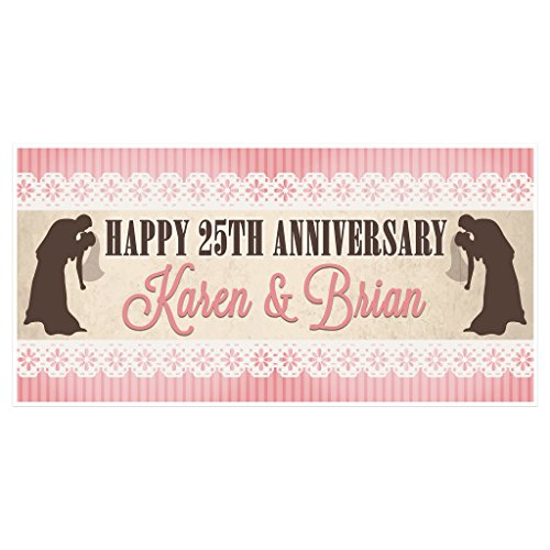 Pink Stripes and Lace Wedding Anniversary Banner Personalized Party Decoration