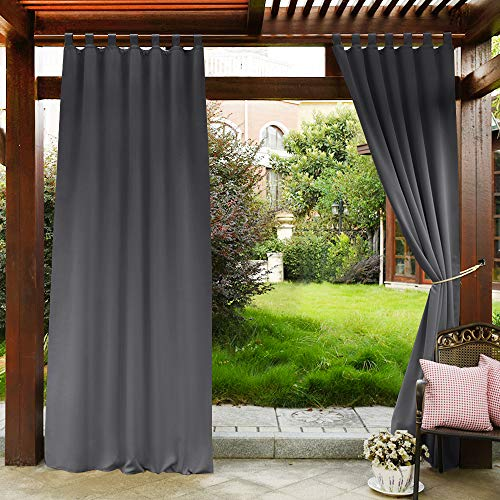PONY DANCE Outdoor Curtain Gray - Blackout Drapes Tab Top Indoor Outdoor Use Fade Resistant Curtain Waterproof for Patio Gazebo/Garden, 52