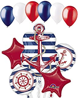 11 Pc Anchors Aweigh Nautical Balloon Bouquet Party Decoration Birthday Baby Sea