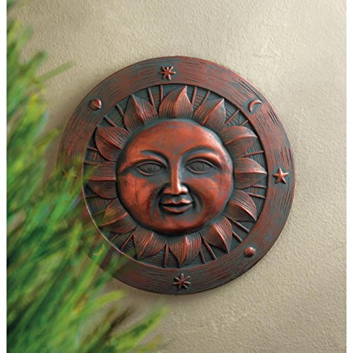 SMILING SUN STEPPING STONE Step Stones Wall Plaque Indoor Outdoor Room Den Gift Yard Garden Patio ()
