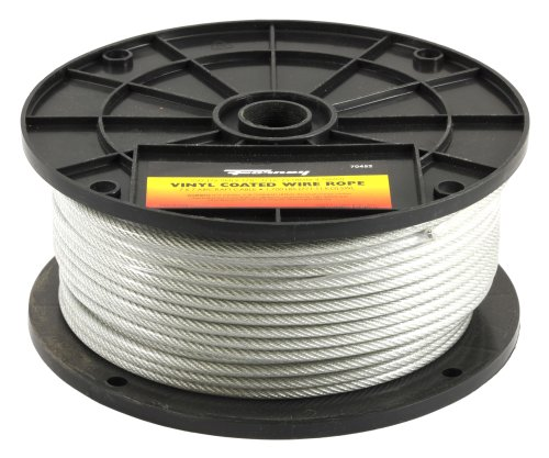 - Forney 70452 Wire Rope, Vinyl Coated Aircraft Cable, 250-Feet-by-1/8-Inch thru 3/16-Inch