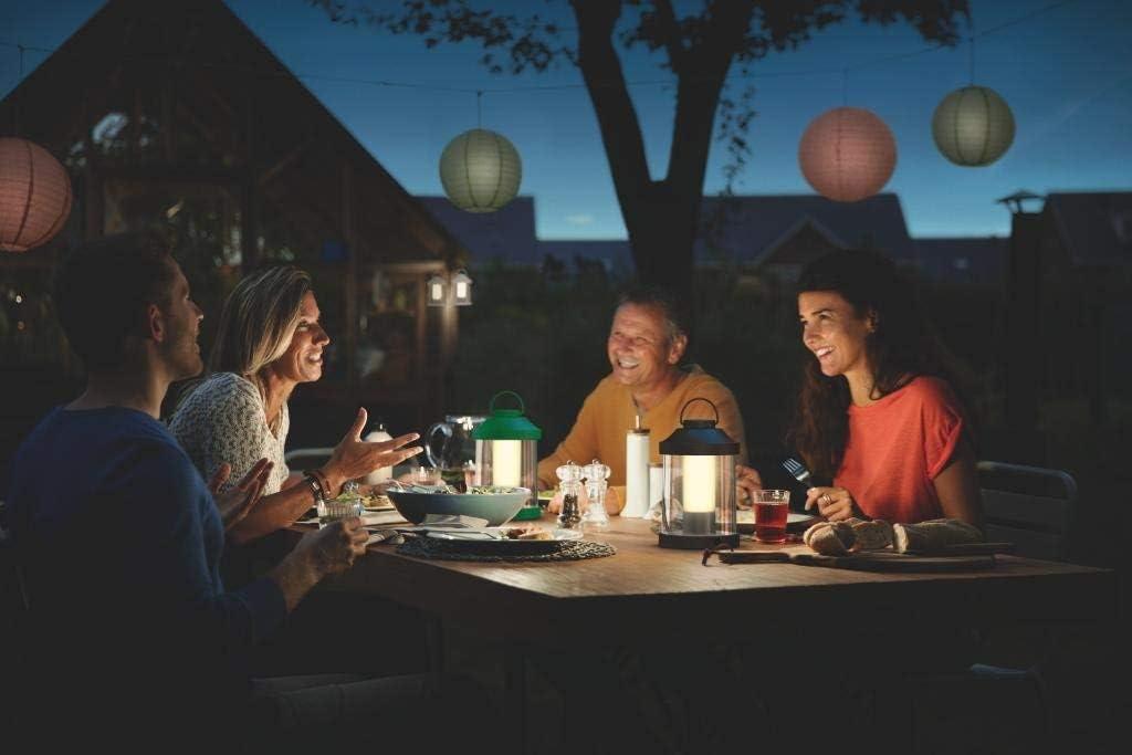 Philips myGarden LED Laterne Abelia, warmweißes Licht, dimmbar, inkl. USB Anschluss, schwarz, für Balkon und Terrasse Schwarz