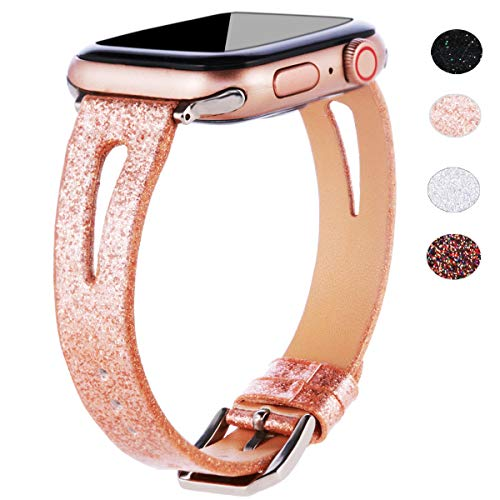 EurCross Women Glitter Leather Band Compatible with Apple Watch Band 38mm 40mm, Shiny Bling Thin iWatch Replacement Wristband with Breathable Hole for iWatch Series 4 Series 3 Series 2 Series 1