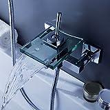Best Bathtub Faucets LightInTheBox Wall Mount Shower Waterfall Faucets Bathtub Glass Tap For Bathroom Brass Body Chrome Finish Single Handle