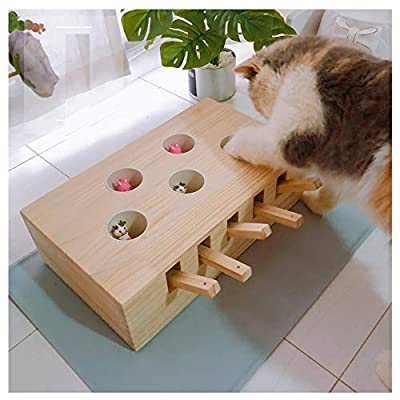 Wellucky Cat Toys Interactive Mouse Solid Wooden Puzzle Box Whack A Mole Mouse