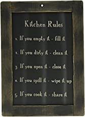 Generic Framed Kitchen Rules Blackboard Primitive Country Rustic Reminders Wall Decor