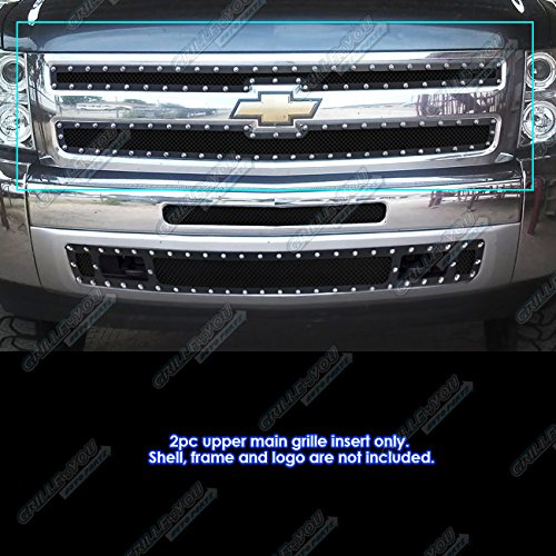 (APS Fits 2007-2013 Chevy Silverado 1500 Stainless Steel Black Rivet Stud Mesh Grille #CL5170H)
