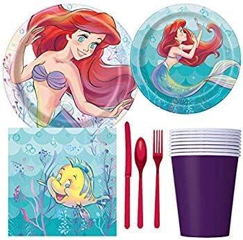 Disney Little Mermaid Ariel suministros para fiesta de cumplea/ños incluye tartas y platos de almuerzo cubiertos vasos 8 invitados servilletas