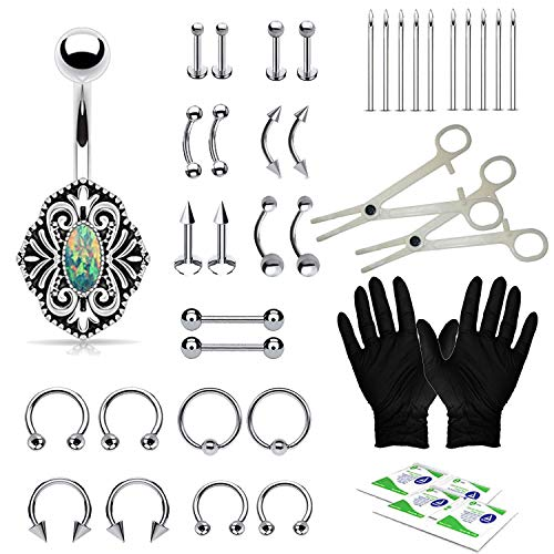 - BodyJ4You 36PC PRO Piercing Kit Steel 14G 16G Vintage Belly Ring Tongue Nipple Nose Jewelry