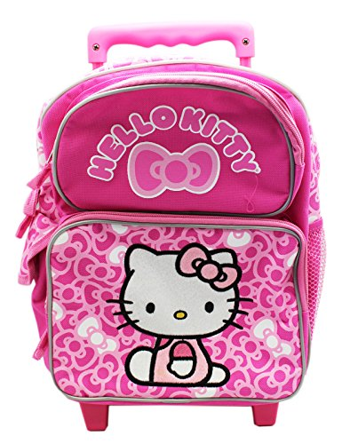 Hello Kitty Pink Fuzzy Patch Preschooler Rolling Backpack (12in)