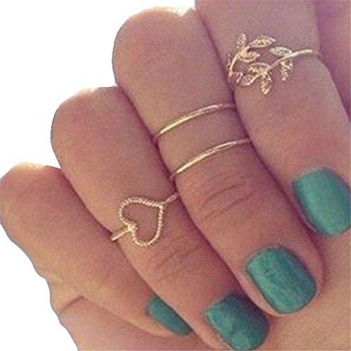 Pusheng Urbanes Fingerring-Set, vergoldet, Knuckle-Ring, Stackingring, Midi-Ring