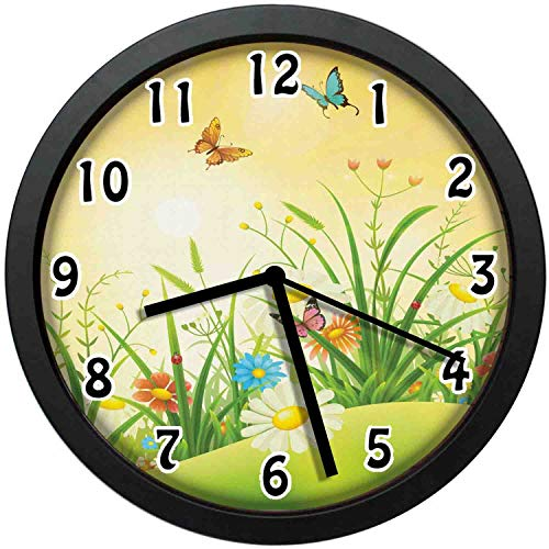 kuangmaikuangmai-6 Vintage Wall Clock - Idyllic Scenery of Summertime Daisy and Wildflower Meadow with Colorful Butterflies Unique Decorative Wall Clock Nice for Gift or Office Home 10in with Frame (Wall Unique Colorful Clocks)