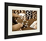 Ashley Framed Prints Hand Holding Poker Chips, Wall Art Home Decoration, Sepia, 26x30 (frame size), AG6423274