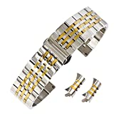 18mm Fine And Smooth Watch Stainless Steel Strap SS Watch Band in Two Tone Silver and Gold Curved End
