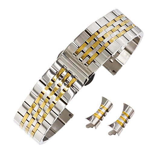 Two Solid Tone Watch Wrist (21mm Awesome Solid Inox Steel Wristband for Watch Polish Two Tone Metal Watch Strap Bent End Silver&Gold)
