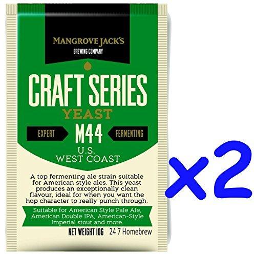 2x Mangrove Jack's Yeast M44 US West Coast Craft Series Yeast 10g treats 23L (Craft Coast)