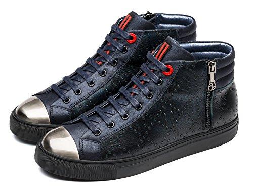Opp Heren Leren Enkellaarsjes Laarzen Veters En Blauw-2