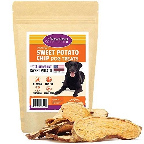 Raw Paws Natural Sweet Potato Dog Treats, 4-oz Chips - Made in USA - Grain & Gluten-Free, Human Grade, No Preservatives, Vegan, Vegetarian Dog Treats - Healthy, Dried, Chewy Dog ()