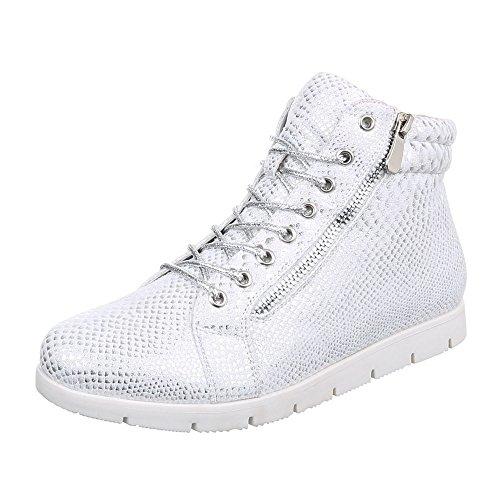 Ital-Design Chelsea Boots Damen Schuhe Chelsea Boots Moderne Reißverschluss Stiefeletten Silber