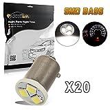 Partsam 20pcs Ba9s 57 53 6000K White LED Light Bulb for Instrument Panel Gauge Cluster Speedo and Tach Replacement Bulb Kit