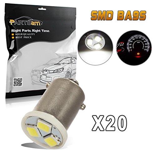 Partsam 20pcs Ba9s 57 53 6000K White LED Light Bulb for Instrument Panel Gauge Cluster Speedo and Tach Replacement Bulb Kit by Partsam