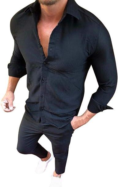 Mitlfuny Hombres Primavera Verano Hombres Ropa Camisa de Manga Larga con Botón Blusa Rayas Color Sólido para Hombre Solapa Casual Slim Fit Básica Tops: Amazon.es: Ropa y accesorios