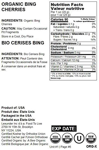 Organic Bing Cherries, 25 Pounds - California Sun-Dried Sour Cherries, Non-GMO, Kosher, Putted, Tart, Unsweetened, Unsulfured, Non-Infused, Non-Oil Added, Non-Irradiated, Vegan, Raw, Bulk by Food to Live (Image #1)