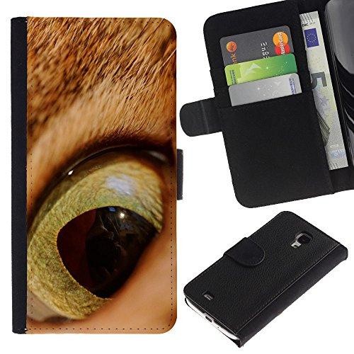 Be Good Phone Accessory // Caso del tirón Billetera de Cuero Titular de la tarjeta Carcasa Funda de Protección para Samsung Galaxy S4 Mini i9190 MINI VERSION! // Cat Orange Ginger Eye