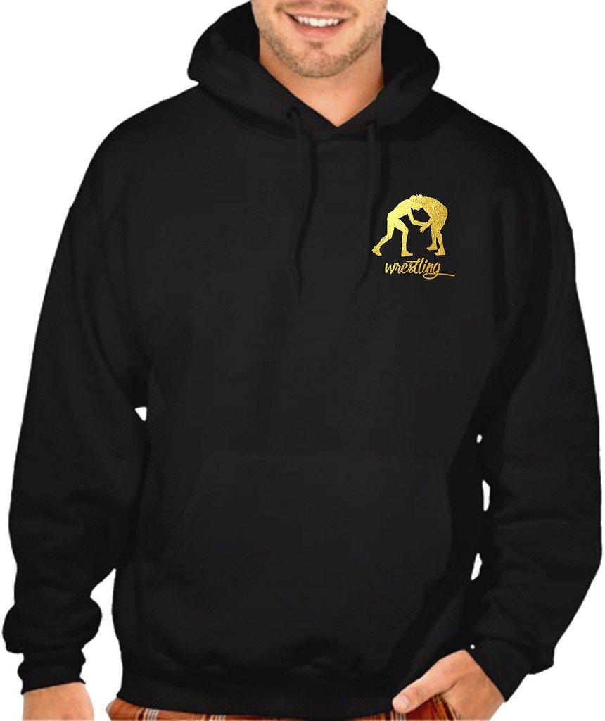 Interstate Apparel Men's Gold Foil Wrestling Emblem Black Pullover Hoodie Sweater X-Large Black