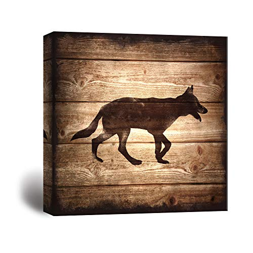 Square Wolf Silhouette on Rustic Wood Board Texture Background