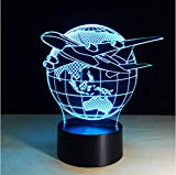 Zlxzlx 7 Color Change Nightlight Colorful Planes Fly Earth Modeling 3D Aircraft Lighting Fixtures Bedroom Atmospheres Table Lamp Gifts