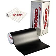 "ORACAL Matte Black Adhesive Craft Vinyl for Cameo, Cricut & Silhouette Including Free Roll of VViViD Clear Transfer Paper (6ft x 12"")"