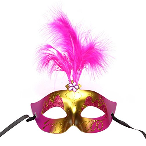 AMA(TM) Adult Sexy Feather Plastic Mask for Masquerade Halloween Ball Party (Hot Pink)