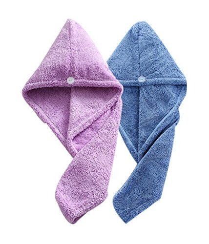 Women's Soft Shower Hair Towel Super Absorbent Dry Hair Cap Purple + Blue 4 Pack by Gentle Meow
