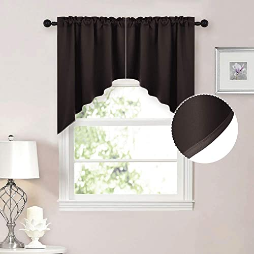 NICETOWN Home Fashion Pole Pocket Kitchen Tier Curtains- Tailored Scalloped Valance Swags 2 Panels, 36 X 36 Each Panel, Brown