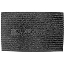 J & M Home Fashions Welcome Charcoal Crumb Rubber Solid Flocked Doormat, 18 by 30-Inch
