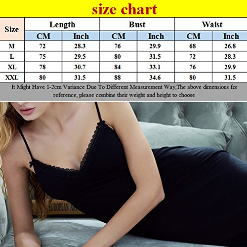 Zhhlinyuan 3 Color Adult Camisole Fun Pajamas Elegant Women V-collar Casual Sleep Skirt Black