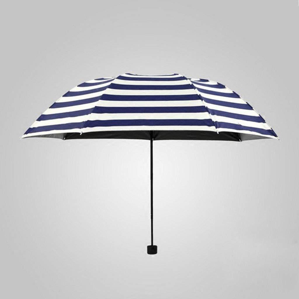 wei Lluvia y Paraguas Azul Creativo Azul Marino Paraguas Plegable de Rayas Paraguas de Goma Masculina Paraguas de Umbrella Negro