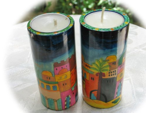 Hand Painted Tall Round Wooden Shabbat 'Jerusalem' Candlesticks by Yair Emanuel - RCL-1
