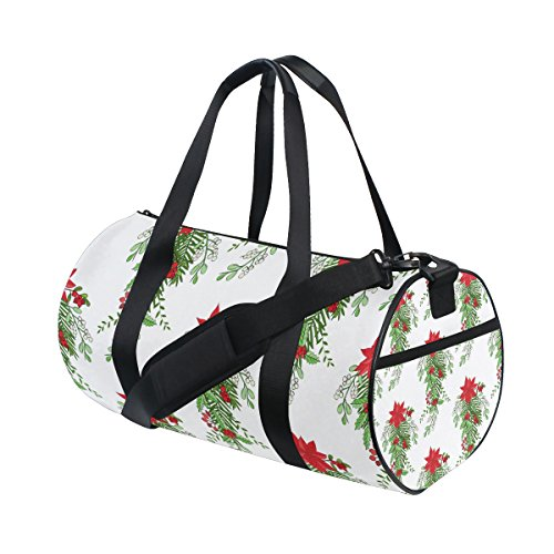 Unisex Bouquet Poinsettia Mistletoe Bow Gym Sport Team Issue Duffel Bag by Top Carpenter