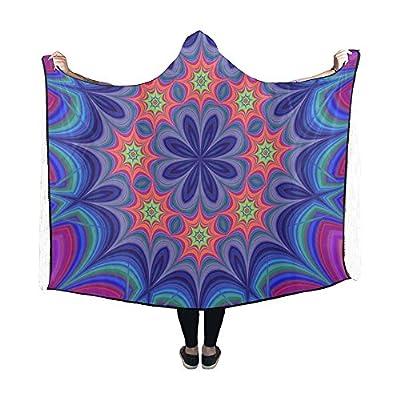 WUTMVING Hooded Blanket Star Abstract Mirror Modern Motif Blanket 60x50 Inch Comfotable Hooded Throw Wrap