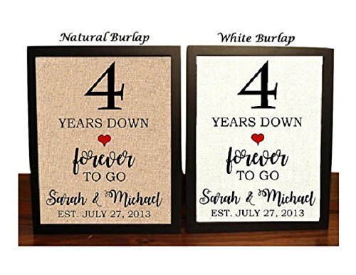 4th Anniversary Burlap Gift   4th Wedding Anniversary Gift   Gift for 4th Anniversary   4 Years Down Forever to Go   4 Years of Marriage