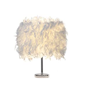 Feather lamp,White Beside Table lamp for Bedroom,Children,Wedding,Birthday,Vintage Deco Desk Light (A)