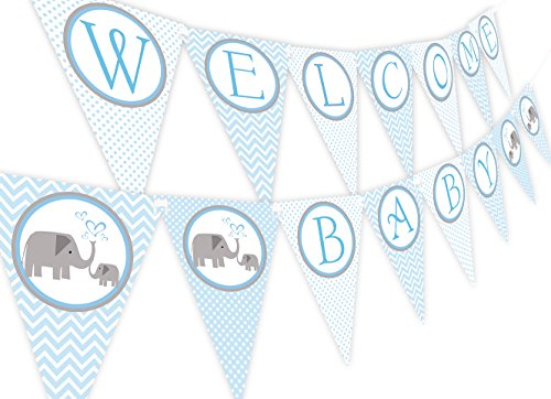 - Little Elephant Blue Baby Shower Banner Pennant