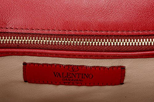 Garavani Leather 100 Red Women's Clutch Valentino Handbag Bag Fdwv7q7